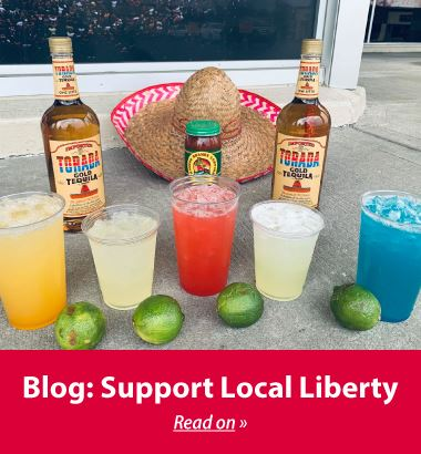 Blog about how to support local Liberty businesses during COVID-19 pandemic. Photo showing margarita