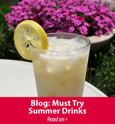 Blog about refreshing drinks from local Liberty coffee shops. Pictured lemonade drink.